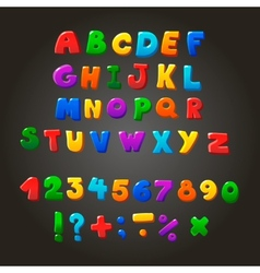 Multicolored kids font letters numbers and vector