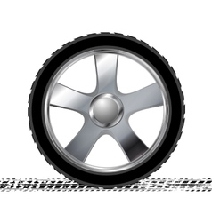 Wheel and grunge tire track abstract background vector