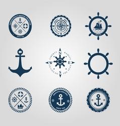 Set of nautical labels icons logo symbol vector