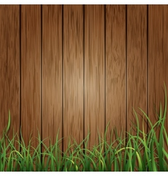 Wood planks and green grass background vector