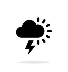 Lightning with sun weather icon on white vector