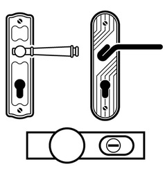 Door handle black icons vector
