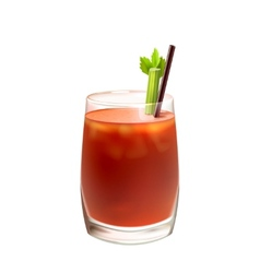 Bloody mary cocktail realistic vector
