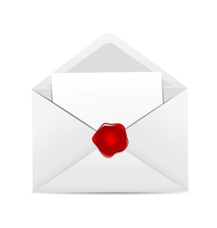 White envelope icon with red wax seal vector
