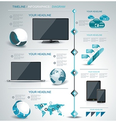 Modern infographic timeline mobile shopping vector