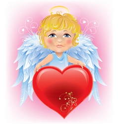 Angel little boy and valentines day heart vector