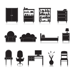 Furniture icons black vector