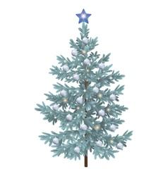 Christmas spruce fir tree with ornaments vector