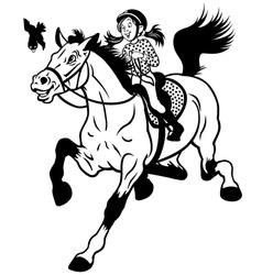 Cartoon girl riding horse black white vector