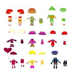 Set of childrens clothes design elements vector