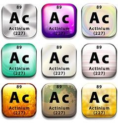A periodic table showing actinium vector