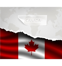 Paper with hole and shadows canada flag vector
