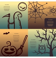 Retro graphical posters with halloween elements vector