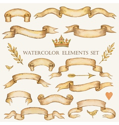 Watercolor set of ribbons vector