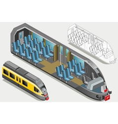 Isometric high speed subway longitudinal section vector