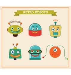 Set of cute retro vintage robots heads vector