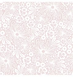 Seamless white lace on pink background vector