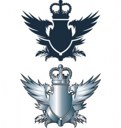 Crown and iron wings vector
