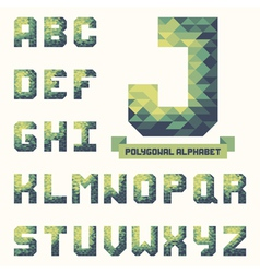 Trendy polygonal triangular alphabet vector