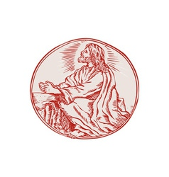 Jesus christ agony in the garden etching vector