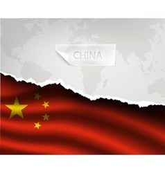 Paper with hole and shadows china flag vector
