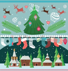 Big set of elements for christmas designs vector