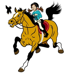 Cartoon girl riding horse vector