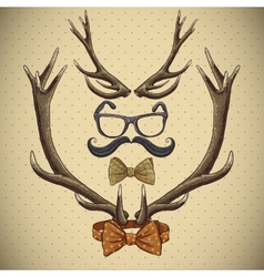 Hipster vintage background with deer antlers vector