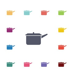 Pot flat icons set vector