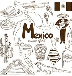 Collection of mexico icons vector