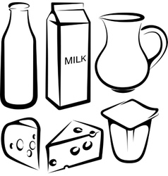 Set of dairy products vector
