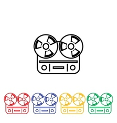 Flat long shadow reel tape recorder vector