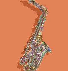 Retro style saxophone card vector