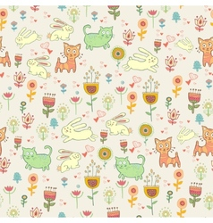 Drawn cartoon animals and flowers vector