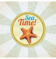 Ocean starfish on the sand retro background vector