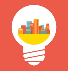 A large city in lightbulb vector