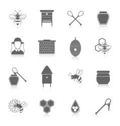 Bee honey icons black set vector