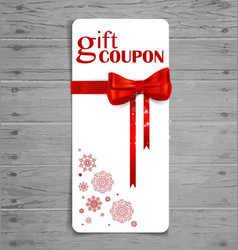 Gift coupon with gift bow and ribbon vector