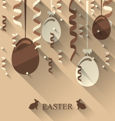 Easter background with chocolate eggs and vector
