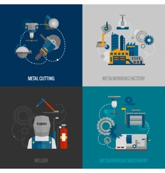 Metalworking factory 4 flat icons vector
