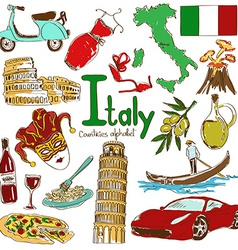 Collection of italy icons vector
