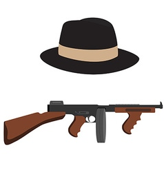 Tommy gun and fedora hat vector