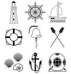 Nautical elements 1 sticker style vector