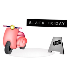 Vintage scooter with a black friday flag vector