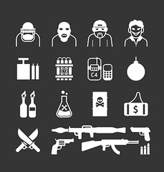 Icons set terrorist design vector