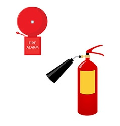 Fire extinguisher and alarm bell vector