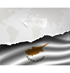 Paper with hole and shadows cyprus flag vector