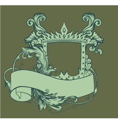 Vintage crest with scroll vector