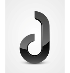 Abstract glossy futuristic letter in black color vector