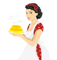 Beautiful woman with cake vector